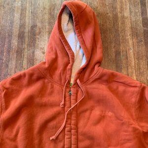 Orange timberland Sherpa lined hoodie size xxl